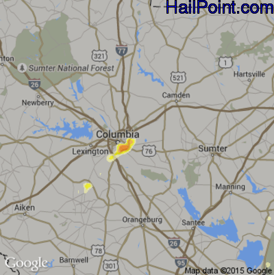 Hail Map for Columbia, SC Region on August 8, 2014