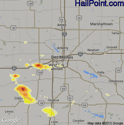 Hail Map for Des Moines, IA Region on August 20, 2014