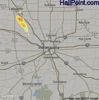 Hail Map for Indianapolis, IN Region on August 22, 2014