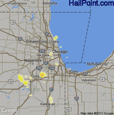 Hail Map for Chicago, IL Region on August 25, 2014