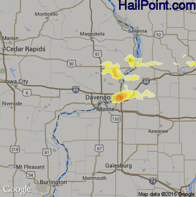 Hail Map for Davenport, IA Region on August 25, 2014