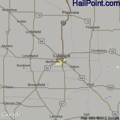 Hail Map for Lubbock, TX Region on August 28, 2014