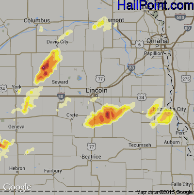 Hail Map for Lincoln, NE Region on August 31, 2014