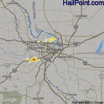 Hail Map for St. Louis, MO Region on September 2, 2014