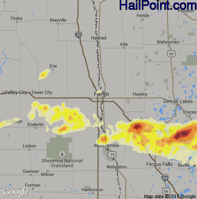 Hail Map for Fargo, ND Region on September 4, 2014