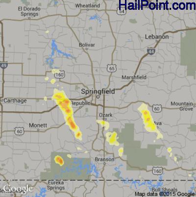Hail Map for Springfield, MO Region on September 17, 2014