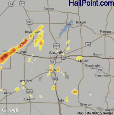 Hail Map for Amarillo, TX Region on September 24, 2014