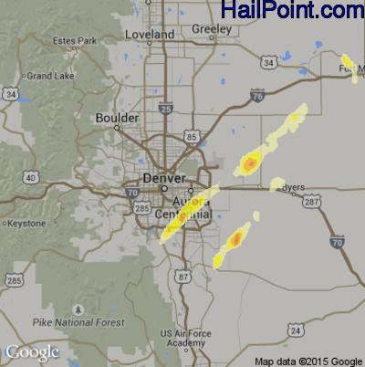 Hail Map for Denver, CO Region on September 29, 2014
