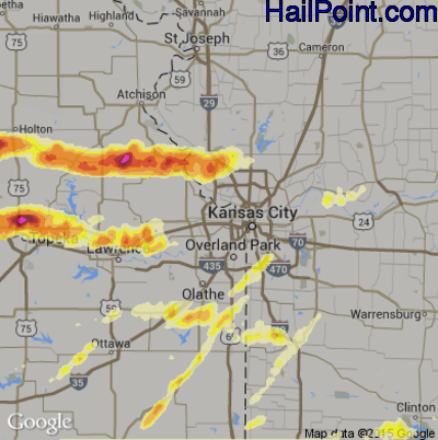 Hail Map for Kansas City, KS Region on October 1, 2014
