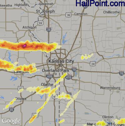 Hail Map for Kansas City, MO Region on October 1, 2014