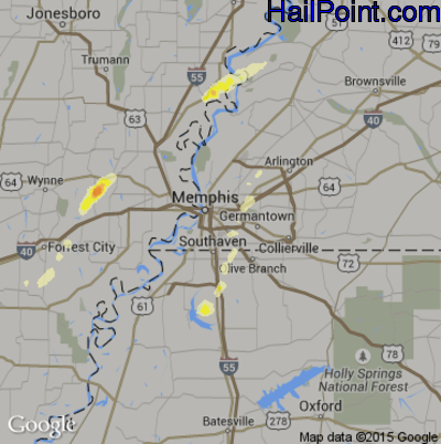 Hail Map for Memphis, TN Region on October 2, 2014