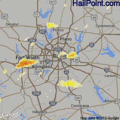 Hail Map for Dallas, TX Region on October 2, 2014