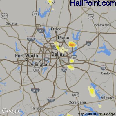 Hail Map for Dallas, TX Region on October 6, 2014