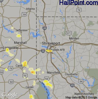 Hail Map for Shreveport, LA Region on October 6, 2014
