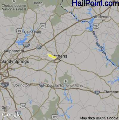 Hail Map for Athens, GA Region on October 9, 2014
