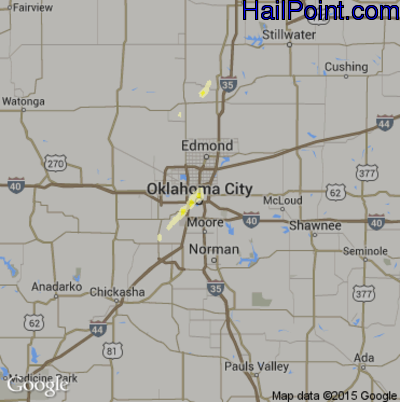 Hail Map for Oklahoma City, OK Region on December 14, 2014