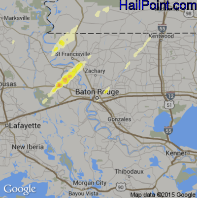 Hail Map for Baton Rouge, LA Region on December 23, 2014