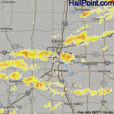 Hail Map for Oklahoma City, OK Region on March 25, 2015