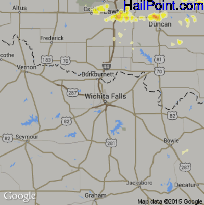 Hail Map for Wichita Falls, TX Region on March 26, 2015