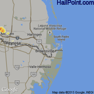 Hail Map for Brownsville, TX Region on March 26, 2015