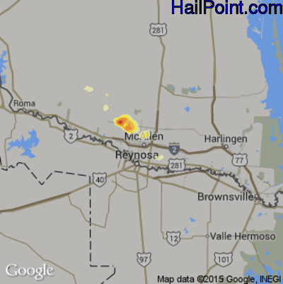 Hail Map for McAllen, TX Region on March 26, 2015
