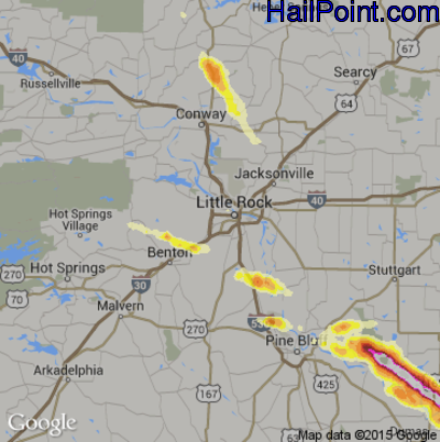 Hail Map for Little Rock, AR Region on March 31, 2015