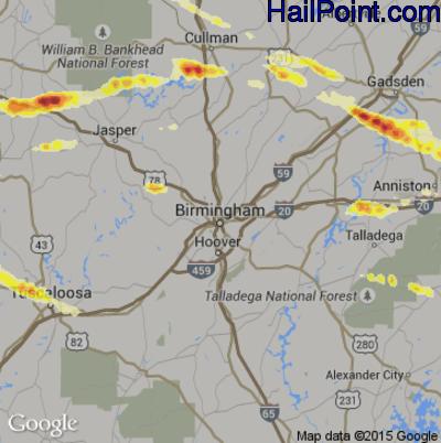 Hail Map for Birmingham, AL Region on March 31, 2015