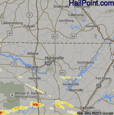 Hail Map for Huntsville, AL Region on March 31, 2015
