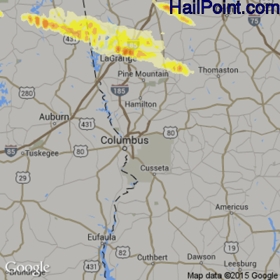 Hail Map for Columbus, GA Region on March 31, 2015
