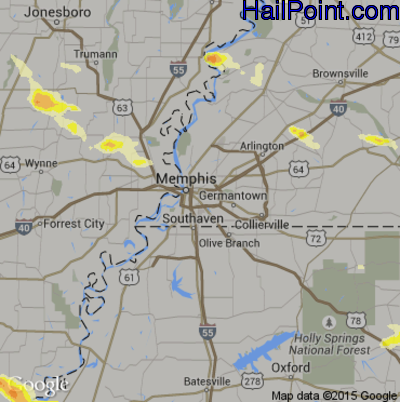 Hail Map for Memphis, TN Region on March 31, 2015