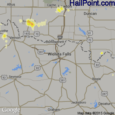 Hail Map for Wichita Falls, TX Region on April 1, 2015