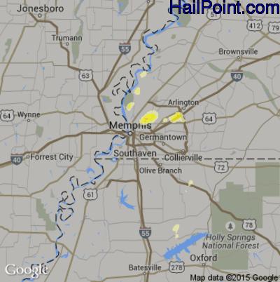 Hail Map for Memphis, TN Region on April 1, 2015