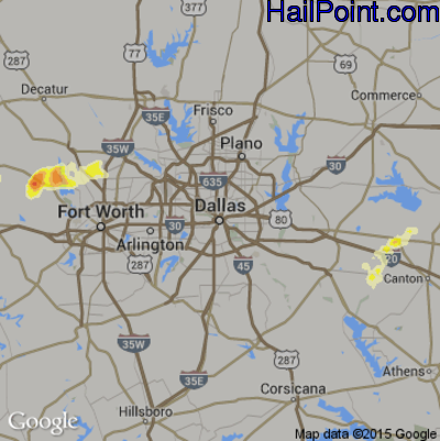 Hail Map for Dallas, TX Region on April 1, 2015