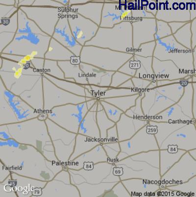 Hail Map for Tyler, TX Region on April 1, 2015