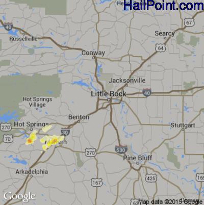 Hail Map for Little Rock, AR Region on April 2, 2015