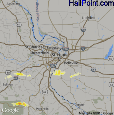 Hail Map for St. Louis, MO Region on April 2, 2015