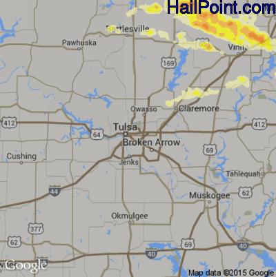 Hail Map for Tulsa, OK Region on April 3, 2015