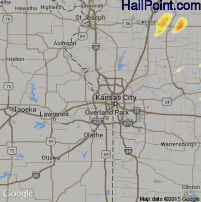 Hail Map for Kansas City, KS Region on April 7, 2015