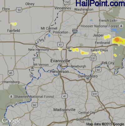 Hail Map for Evansville, IN Region on April 7, 2015