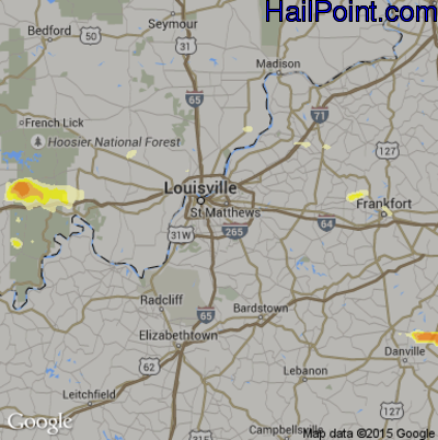 Hail Map for Louisville, KY Region on April 7, 2015
