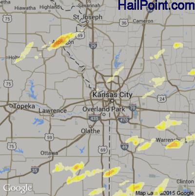 Hail Map for Kansas City, KS Region on April 8, 2015