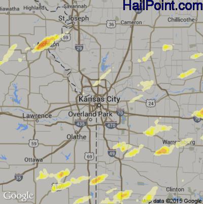 Hail Map for Kansas City, MO Region on April 8, 2015