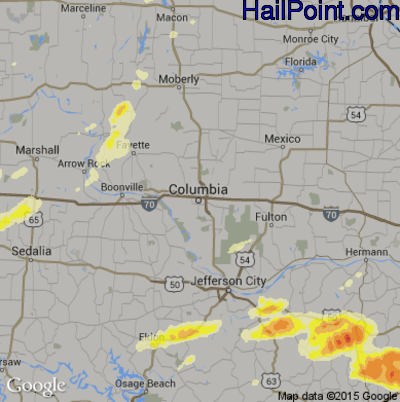 Hail Map for Columbia, MO Region on April 8, 2015