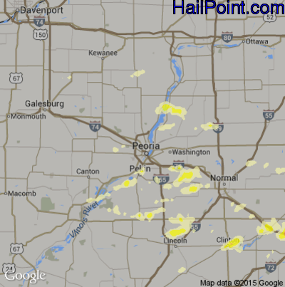 Hail Map for Peoria, IL Region on April 8, 2015