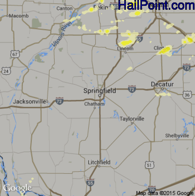 Hail Map for Springfield, IL Region on April 8, 2015