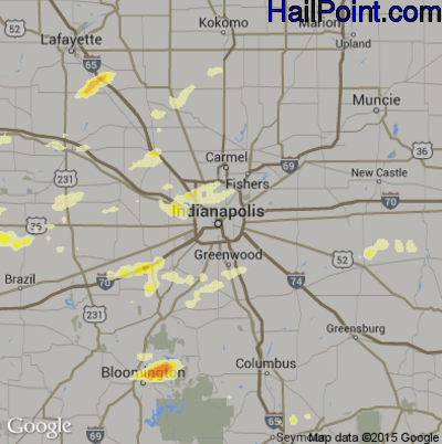 Hail Map for Indianapolis, IN Region on April 8, 2015