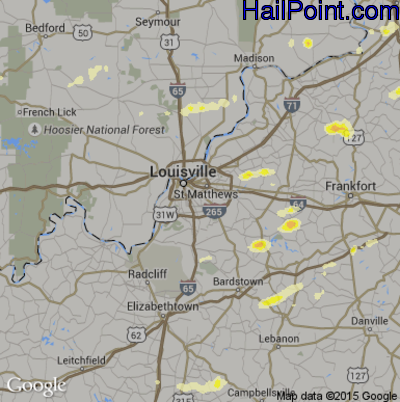 Hail Map for Louisville, KY Region on April 8, 2015