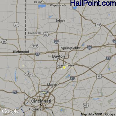 Hail Map for Dayton, OH Region on April 8, 2015