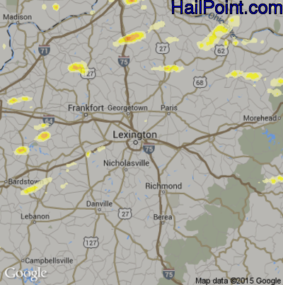 Hail Map for Lexington, KY Region on April 8, 2015