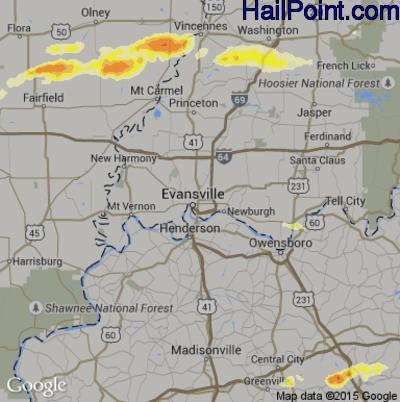 Hail Map for Evansville, IN Region on April 8, 2015